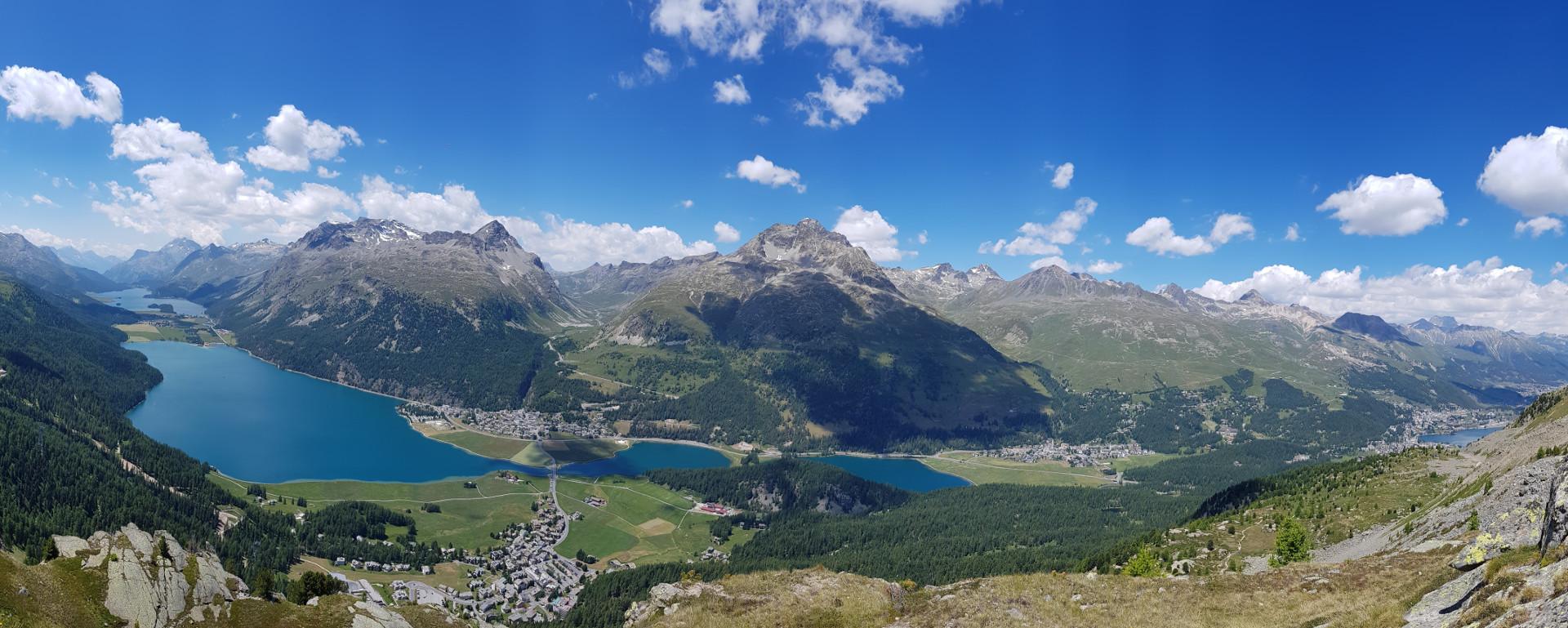 Engadine, Surlej, Crap Alv, view from Maloja to St. Moritz