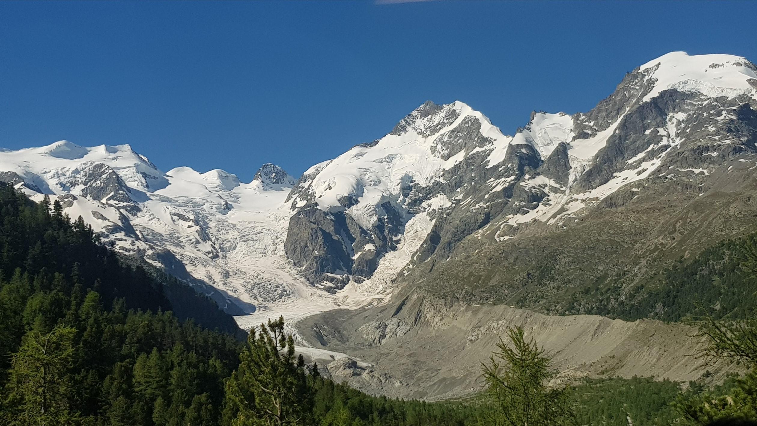 Engadine, Pontresina, Morteratsch, view on Glacier, Bellavista, Piz Boval