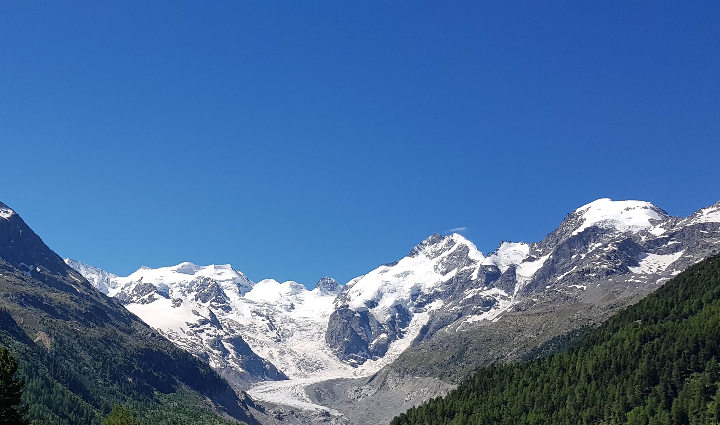 Engadine, Pontresina, Morteratsch, view on Glacier, Val Morteratsch, Piz Boval