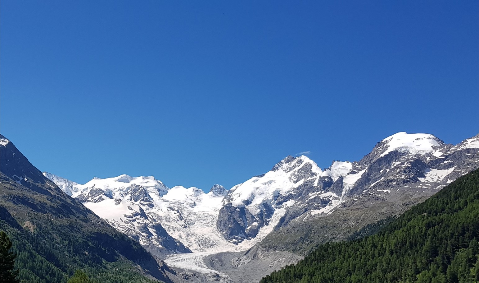 Engadine, Pontresina, Morteratsch, view on Glacier, Bellavista, Piz Bernina