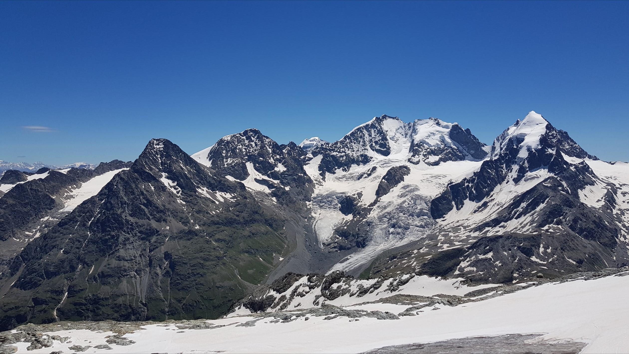 Engadine, Silvaplana, Corvatsch, view on Piz Tschierva, Piz Bernina