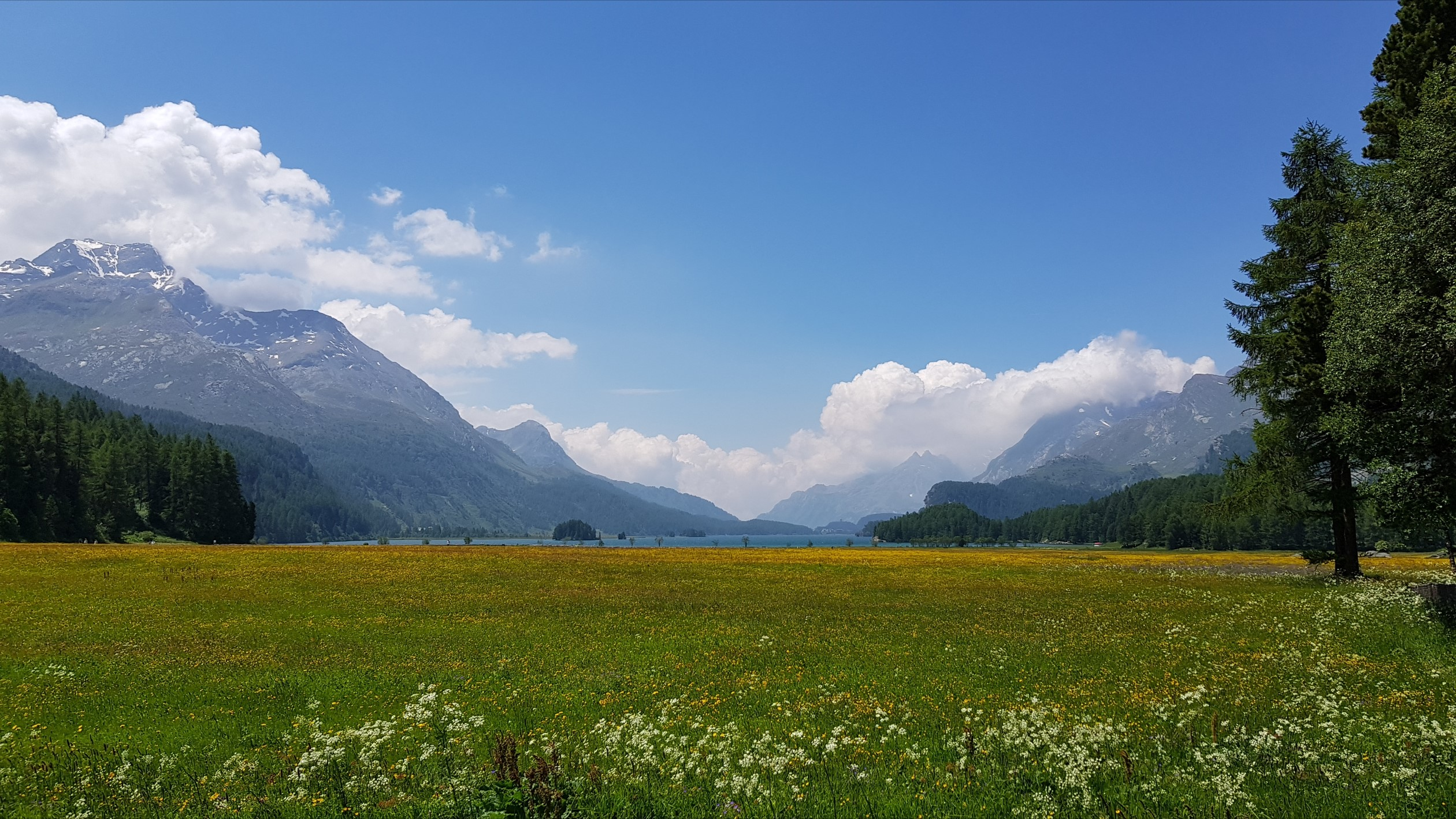 Engadine, Sils Segl Baselgia, view in direction Maloja, Isola with Chaviolas, Chaste, Silsersee