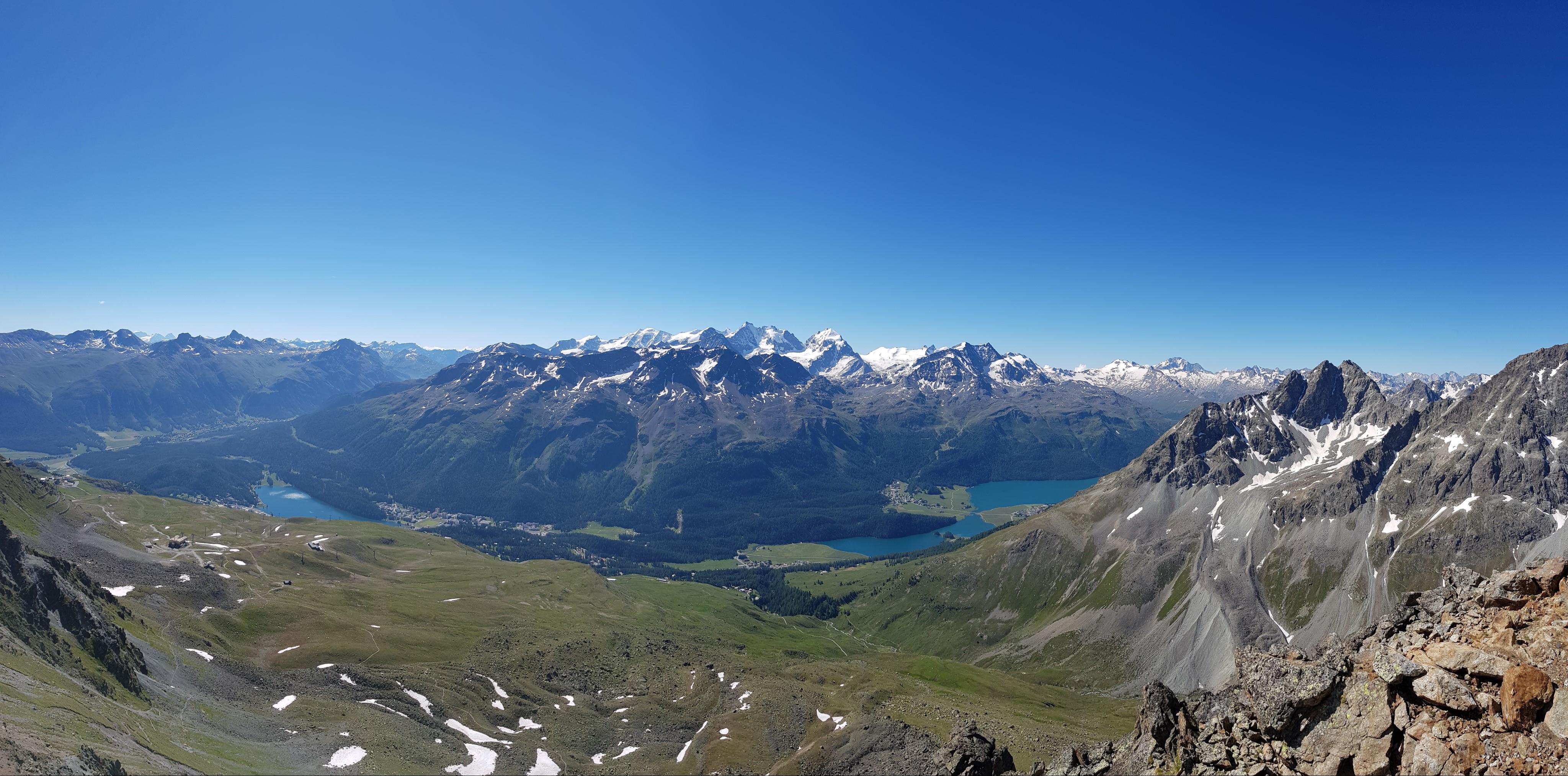 Engadine, St. Moritz, Piz Nair, view in direction Piz Bernina, Piz Murtel, Piz Corvatsch, Lake of St. Moritz, Lake Champfer, Lake Silvaplana