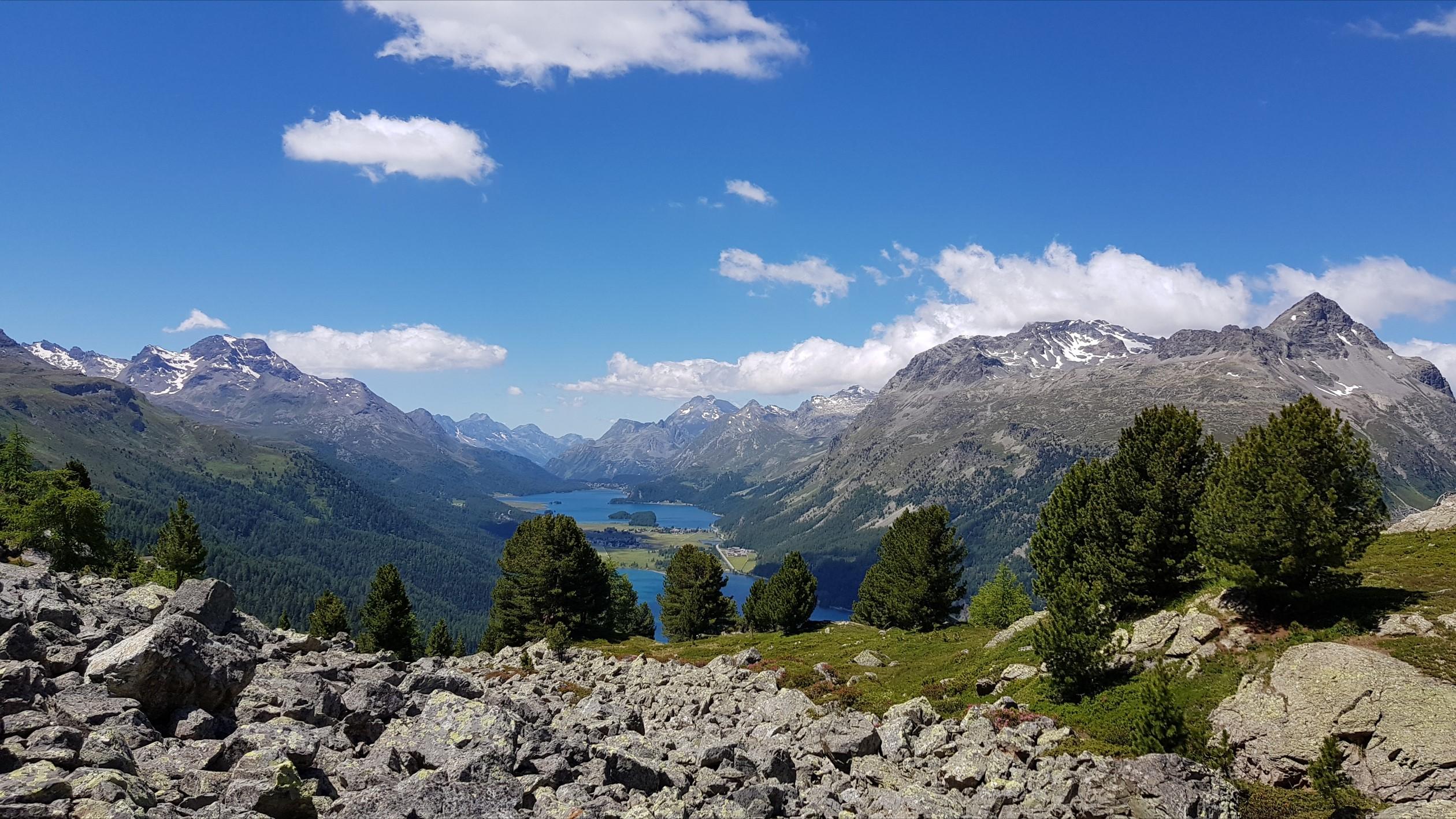 Engadine, St. Moritz, Hahnensee, view in direction Maloja with Lake Silvaplana, Lake Sils, Chaste