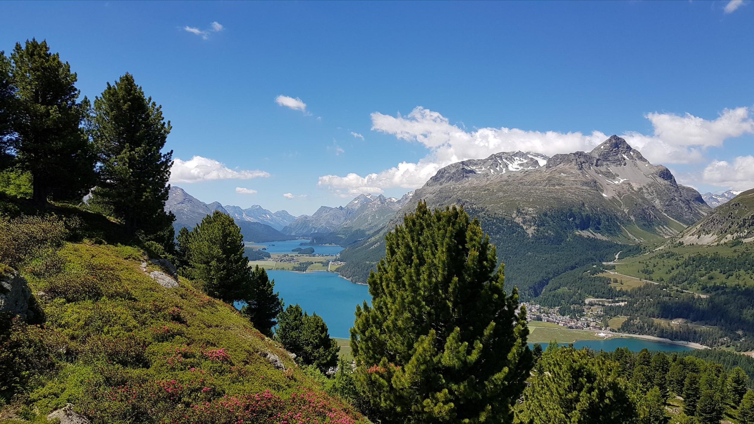 Engadine, St. Moritz, Hahnensee, view in direction Maloja with Lej da Champfer, Lake Silvaplana, Lake Sils, Chaste