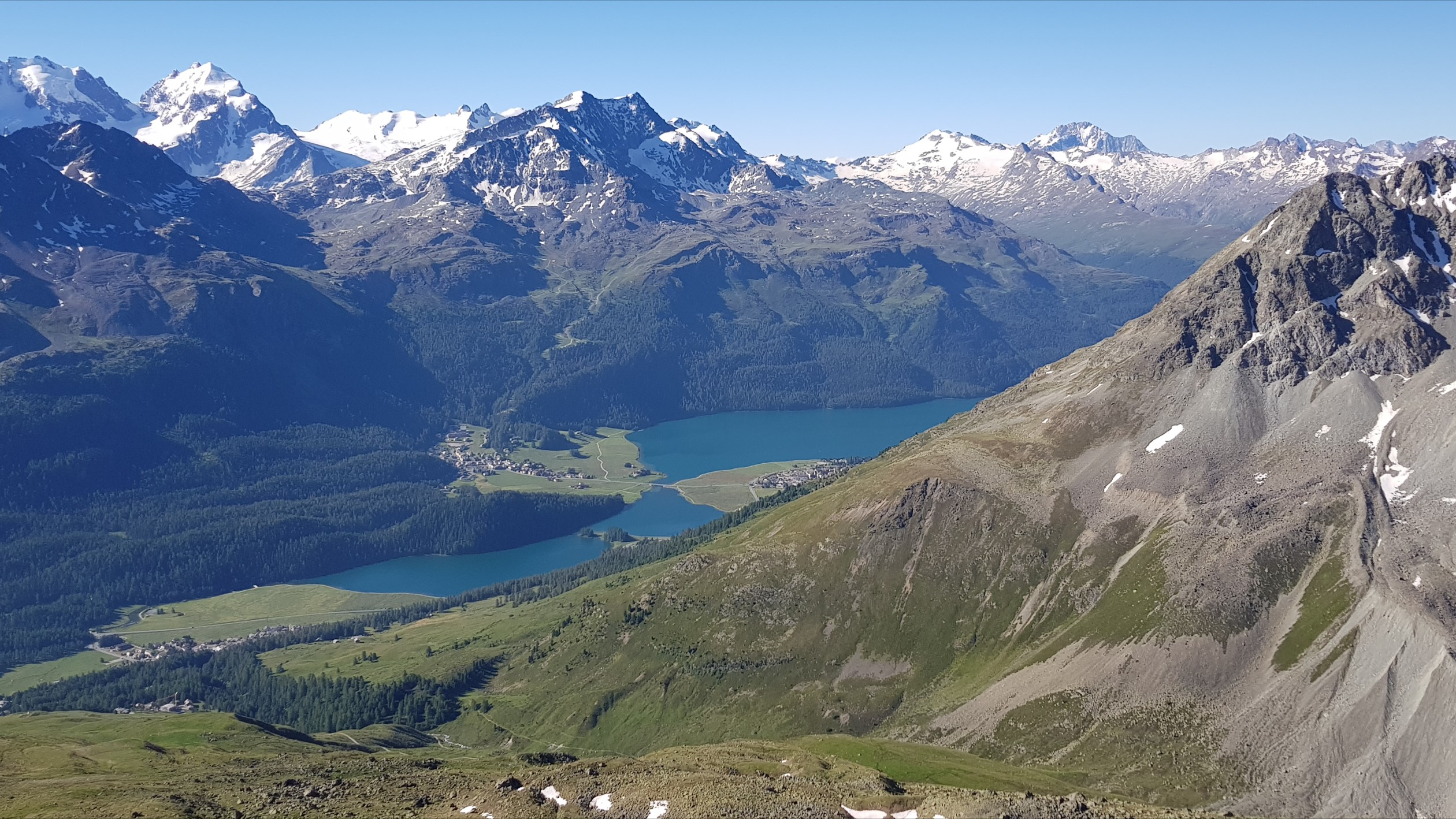 Engadine, St. Moritz, Piz Nair, view in direction Corvatsch with Surlej and Lake Silvaplana