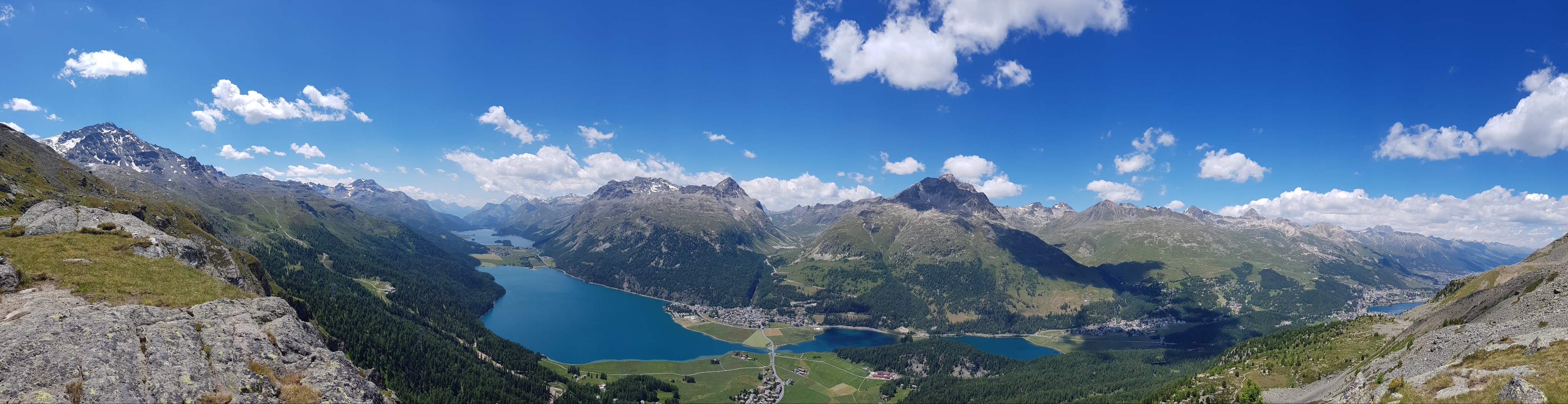Engadine, Surlej, view on Surlej, Silvaplana, St. Moritzersee, Lej da Champfer, Lake Silvaplana, Lake Sils