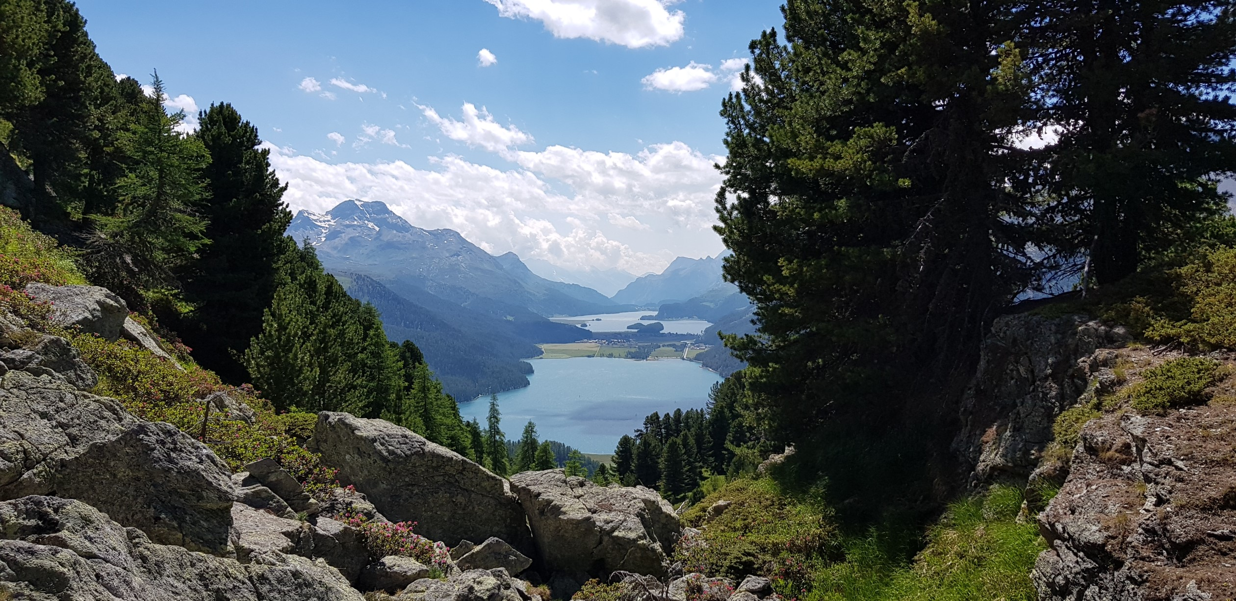 Engadine, St. Moritz, Hahnensee, view in direction Maloja with Lake Silvaplana and Lake Sils, Chaste