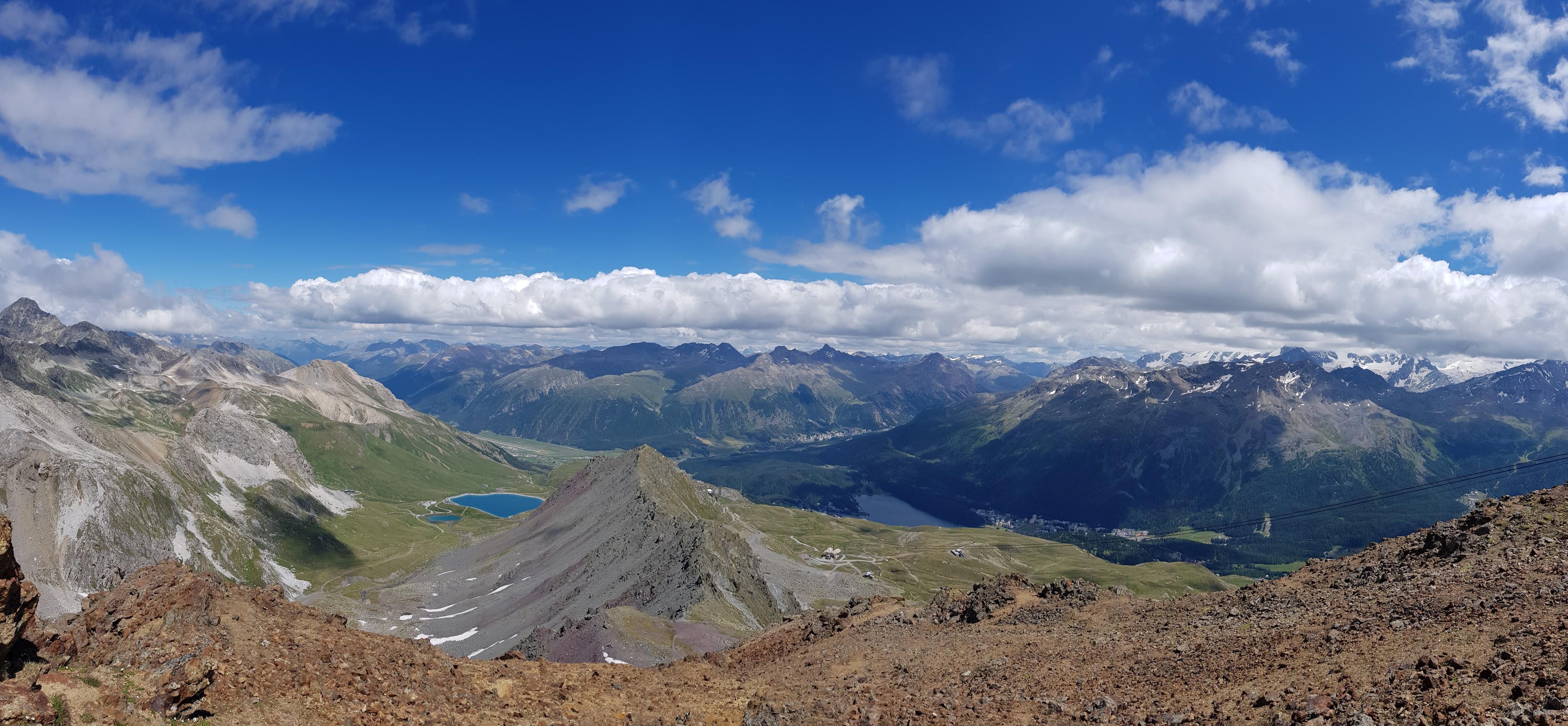 Engadine, St. Moritz, Piz Nair, view in direction Lej Alv, Lake of St. Moritz, Lej da Staz, Samedan, Pontresina, Muottas Muragl