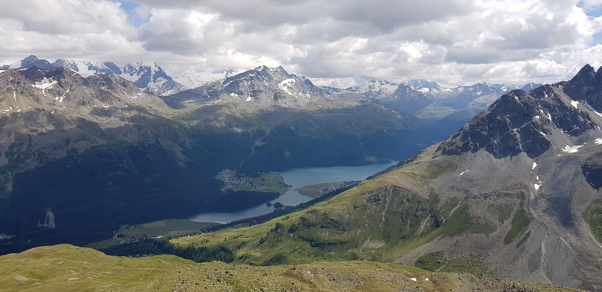 Engadine, St. Moritz, Piz Nair, view in direction Corvatsch with Lej da Champfer and Lake Silvaplana