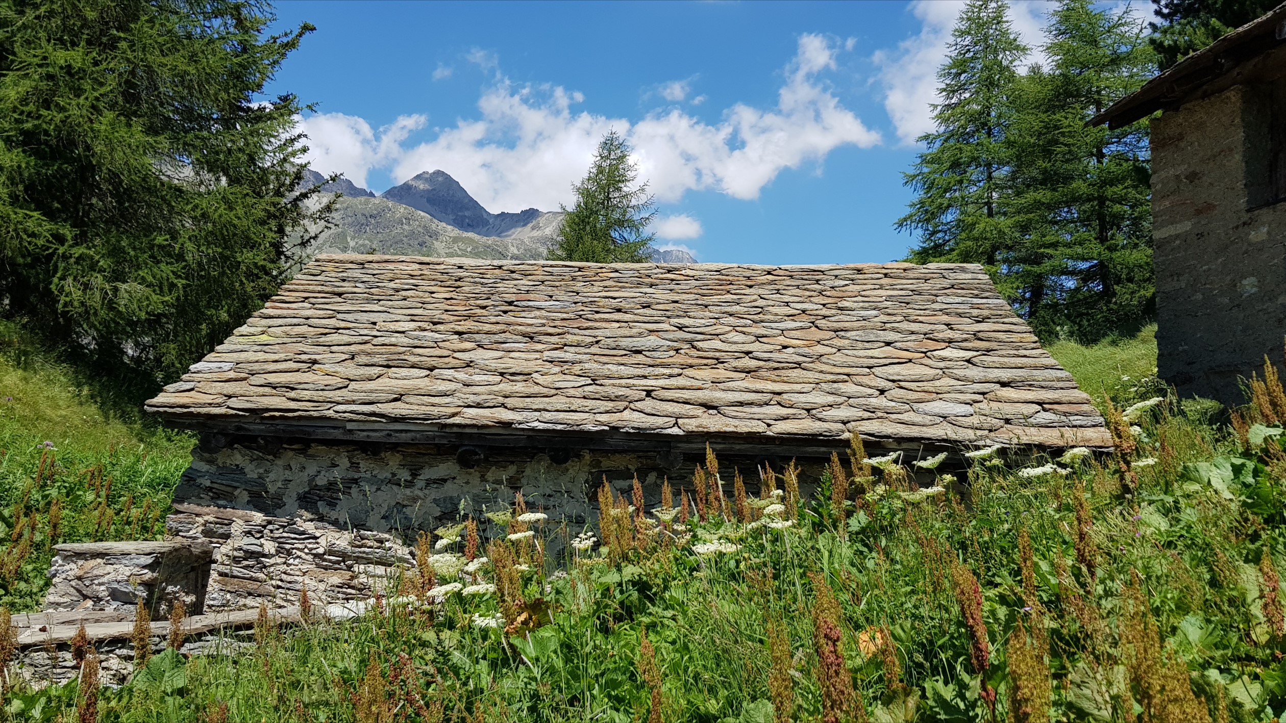 Engadine, Val Fex, Vanchera, typical stone roof