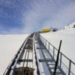 Engadine, St. Moritz, Corviglia Funicular from Chantarella to Corviglia view on Corviglia Bergstation