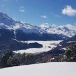 Engadine, St. Moritz, Signal view on Suvretta House, Piz Murtel