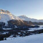 Engadine, St. Moritz, Signal view on Suvretta House, Piz Murtel and Piz Corvatsch