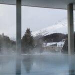 Engadine, St. Moritz, Bad, Ovaverva, outside basin, view on Kempinski Hotel, Piz Albana