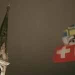 Engadine, St. Moritz, view on Church tower