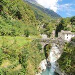 Engadine, Bergell, Bregaglia, Promontogno, Sottoponte, view on Bridge and River Mera near village Bondo