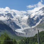 Engadine, Pontresina, Alp Grüm, Bernina Express, Historic Train, view on Morteratsch Glacier