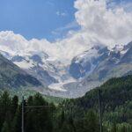 Engadine, Pontresina, Alp Grüm, Bernina Express, Historic Train, view on Morteratsch Glacier two