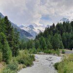 Engadine, Pontresina, Alp Grüm, Bernina Express, Historic Train, view on Morteratsch river