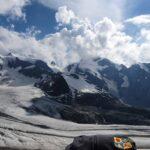 Engadine, Pontresina, Diavolezza, view on Pers Glacier, Piz Palü, Crast Alva, Biancograt, with Organizational Science AG Logo