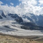 Engadine, Pontresina, Diavolezza, view on Pers Glacier, Piz Palü, Isla Persa
