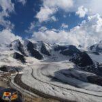 Engadine, Pontresina, Diavolezza, view on Pers Glacier, Piz Palü, Piz Spinas, Crast Alva, Biancograt, with Organizational Science AG Logo