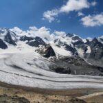 Engadine, Pontresina, Diavolezza, view on Pers and Morteratsch Glacier, Piz Palü, Piz Spinas, Crast Alva, Biancograt