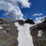 Engadine, Pontresina, Diavolezza, view on covered Diavolezza Glacier