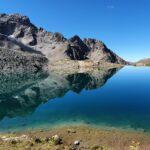 Engadine, Samaden, Muottas Muragl, Lej Muragl, direction Las Sours, mirroring clouds and mountains