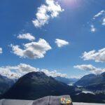 Engadine, Samaden, Muottas Muragl, direction Lej da Staz, Lake of St. Moritz with Organizational Science AG Logo