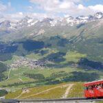 Engadine, Samaden, Muottas Muragl, view on Funicular