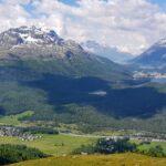 Engadine, Samaden, Muottas Muragl, view on Prüma, Val Roseg, Stazersee, Lej da Staz, St. Moritz Lake, Lej da Champfer, Silvaplanersee, Silsersee