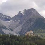 Engadine, Scuol, Tarasp Castle with Piz Pisoc
