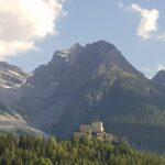 Engadine, Scuol, Tarasp Castle with Piz Pisoc group