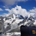 Engadine, Silvaplana, Corvatsch, view on Glacier, Roseg, Da Tschierva, Da la Sella, with Organizational Science AG Logo