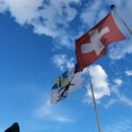 Engadine, St. Moritz, Church Tower Peak and Flags