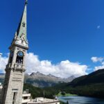 Engadine, St. Moritz, Dorf, Church from top
