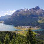 Engadine, St. Moritz, Hahnensee, Crap Nair, view in direction Maloja with Lake Sils and Lake Silvaplana