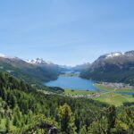 Engadine, St. Moritz, Hahnensee, Crap Nair, view in direction Maloja with Lej da Champfer, Lej da Silvaplauna, Lej da Segl