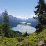 Engadine, St. Moritz, Hahnensee, Crap Nair, view in direction Maloja with Lej da Silvaplauna, Lej da Segl