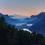 Engadine, St. Moritz, Hahnensee, view in direction Sils, Maloja