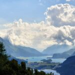 Engadine, St. Moritz, Hahnensee, view in direction Sils, Maloja with clouds