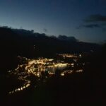 Engadine, St. Moritz, Hahnensee, view in direction St. Moritz Lake and Muottas Muragl at night