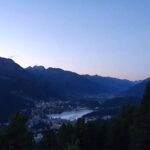 Engadine, St. Moritz, Hahnensee, view on St. Moritz and St. Moritz Lake in the evening