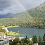 Engadine, St. Moritz, Kulm Hotel, Rainbow on the Lake of St. Moritz