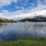 Engadine, St. Moritz, Lake of St. Moritz view on Village