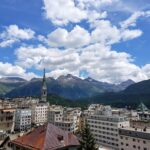Engadine, St. Moritz, Leaning Tower, Peak of the Palace Tower and Muottas Muragl