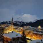 Engadine, St. Moritz, Leaning Tower and Muottas Muragl in winter