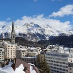 Engadine, St. Moritz, Leaning Tower and Muottas Muragl in winter during the day